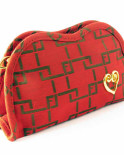 Cosmetic Bag Red with Gold Heart Accent (Medium)